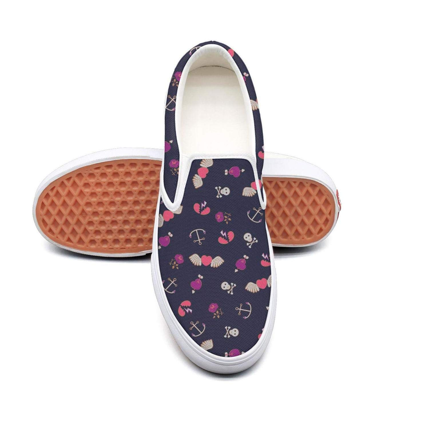 Heart Wings Skull Anchor Slip On Rubber Sole Loafers Canvas Shoes for Women Round Toe