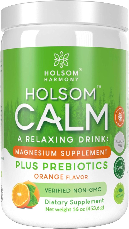 Calm Magnesium Powder, Anti Stress Supplement with Prebiotics (Orange)