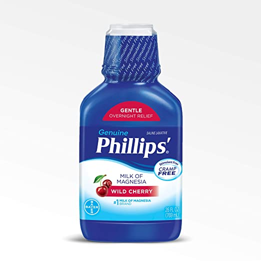Amazon.com: Phillips Milk of Magnesia Laxative (Wild Cherry, 26-Fluid-Ounce Bottle): Prime Pantry