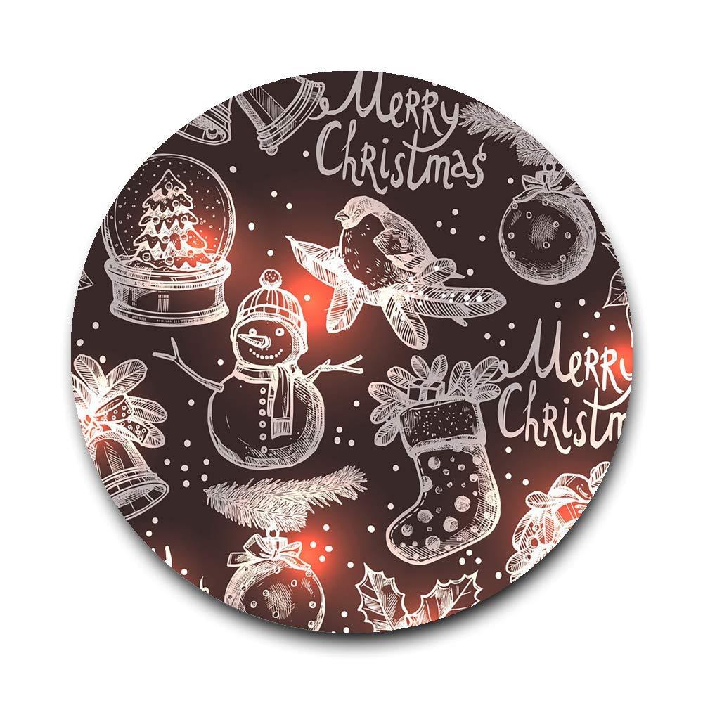 LIUYAN 陶器コースター クリスマス スケッチ ガラスカップホルダー コーヒーマグプレースマット ドリンク用   B07K641WPQ
