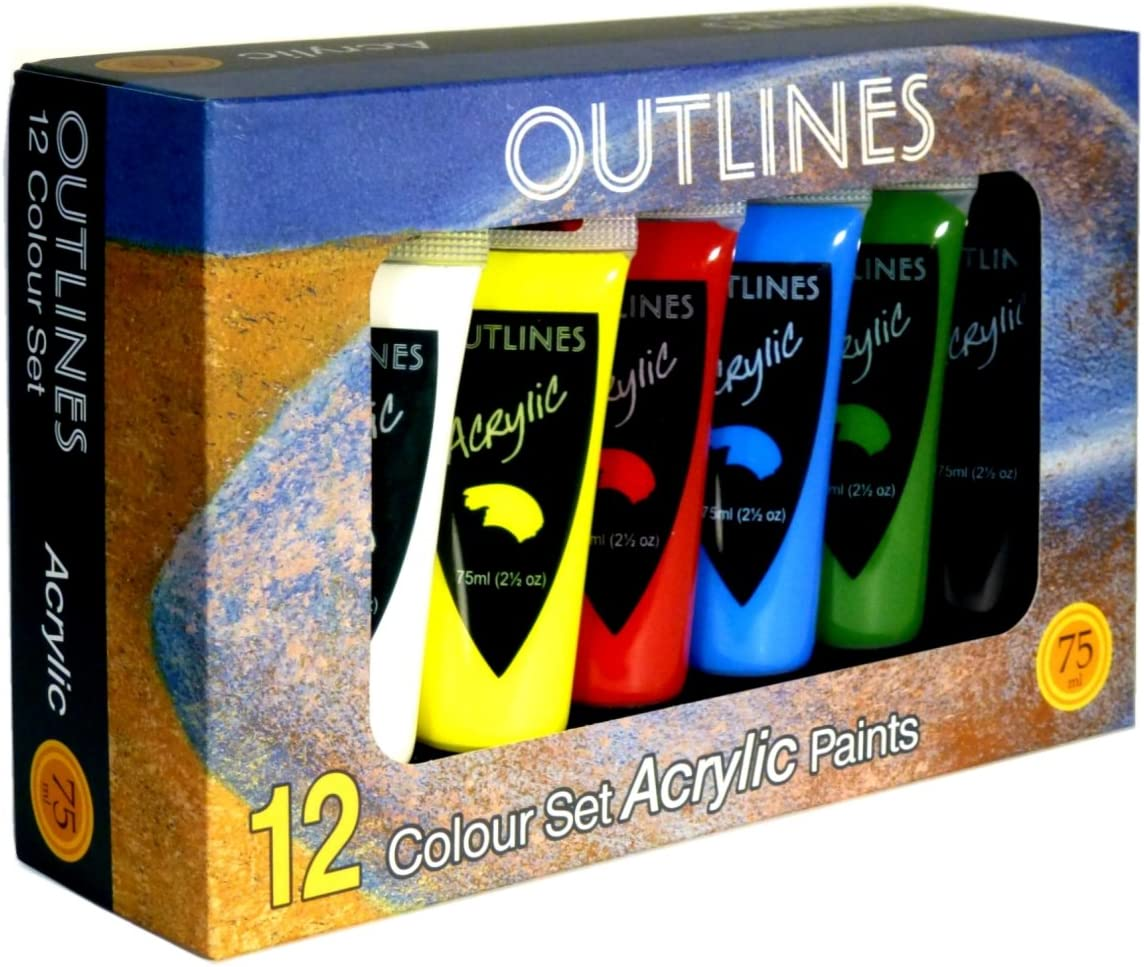 Set of 12 Acrylic Paint colours in Large 75ml Tubes by Outlines