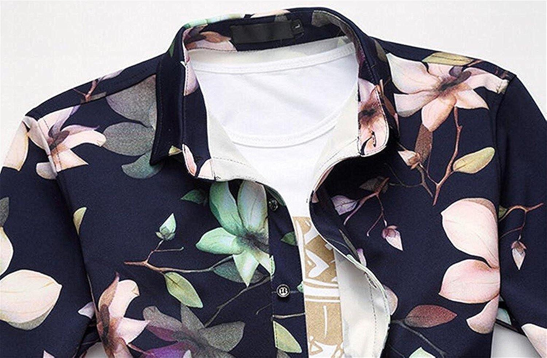LOKOUO Mens Floral Prints Stylish Button Down Slim Dress Shirt