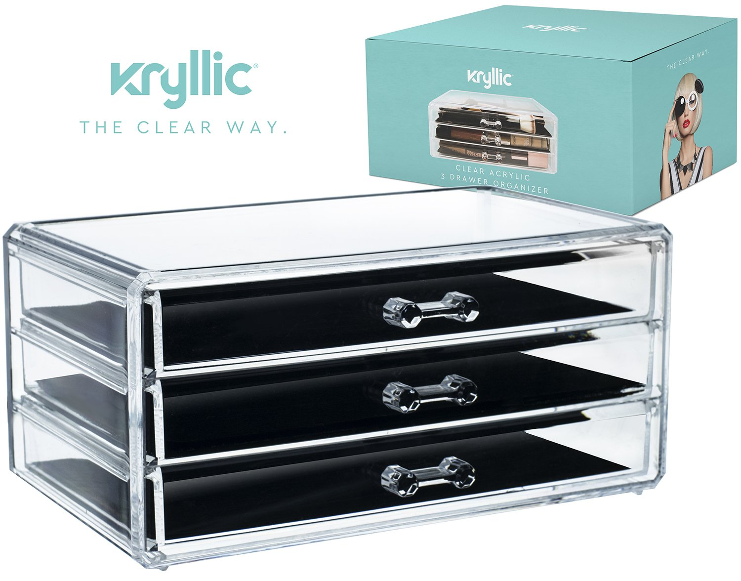Acrylic Makeup Jewelry Cosmetic Organizer - Clear Acrylic Display Storage for Jewelry Makeup Pallets & all Bathroom Accessories keep your Vanity & Dresser Organized with set of 3 Drawers Kryllic
