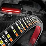 """MICTUNING 60"""" Triple Row LED Tailgate Light Bar with Amber Turn Signal, Red Brake/Running, White Reverse Lights"""