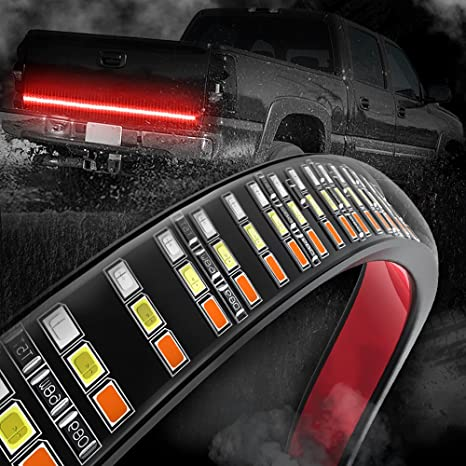 Amazon mictuning 60 triple row led tailgate light bar with mictuning 60quot triple row led tailgate light bar with amber turn signal red brake aloadofball Image collections