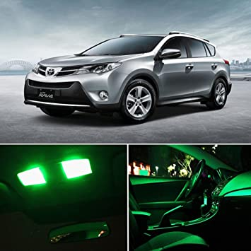 cciyu 6pcs super verde lámpara de bombillas LED de interior paquete kit para Toyota RAV4 2006 - 2013 nos: Amazon.es: Coche y moto