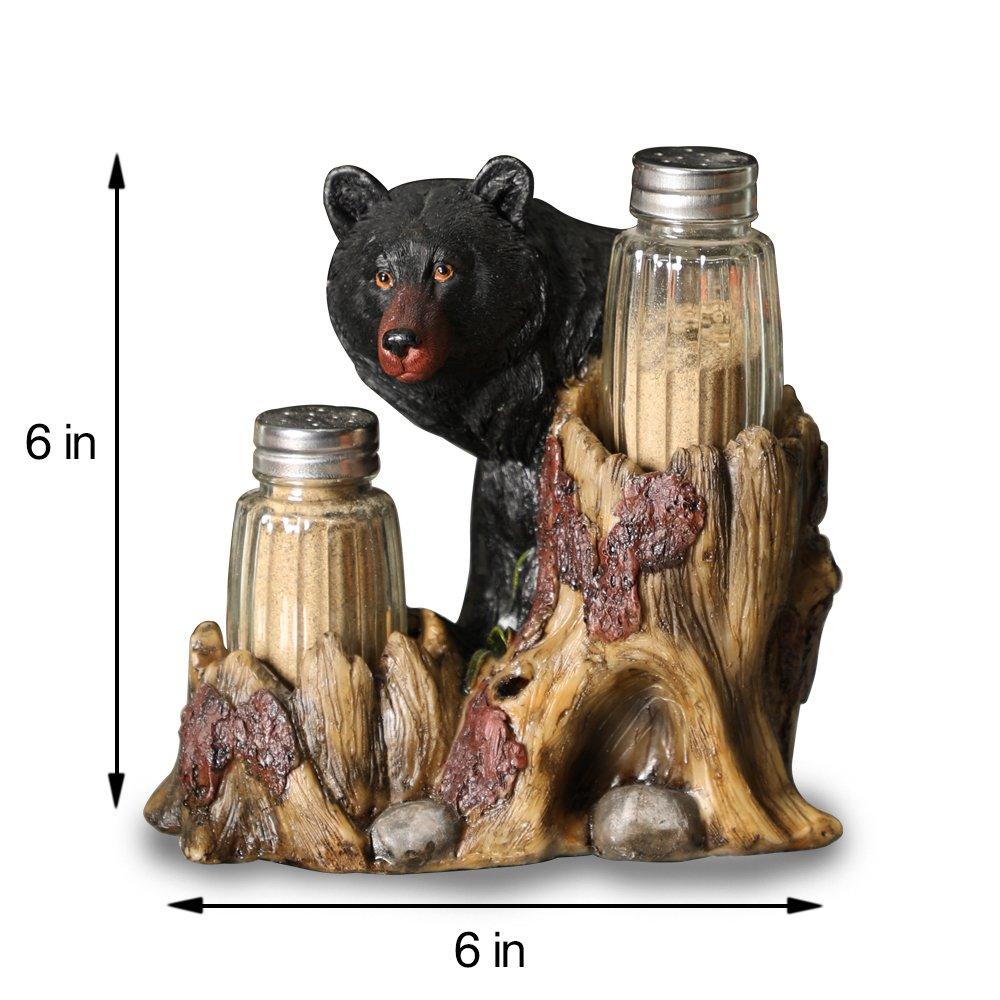 ARAIDECOR Curious Black Bear Salt and Pepper Holder Sculpture Home Décor or Restaurant Setting Statue - 6 x 6 Inches (Black Bear) by ARAIDECOR (Image #6)