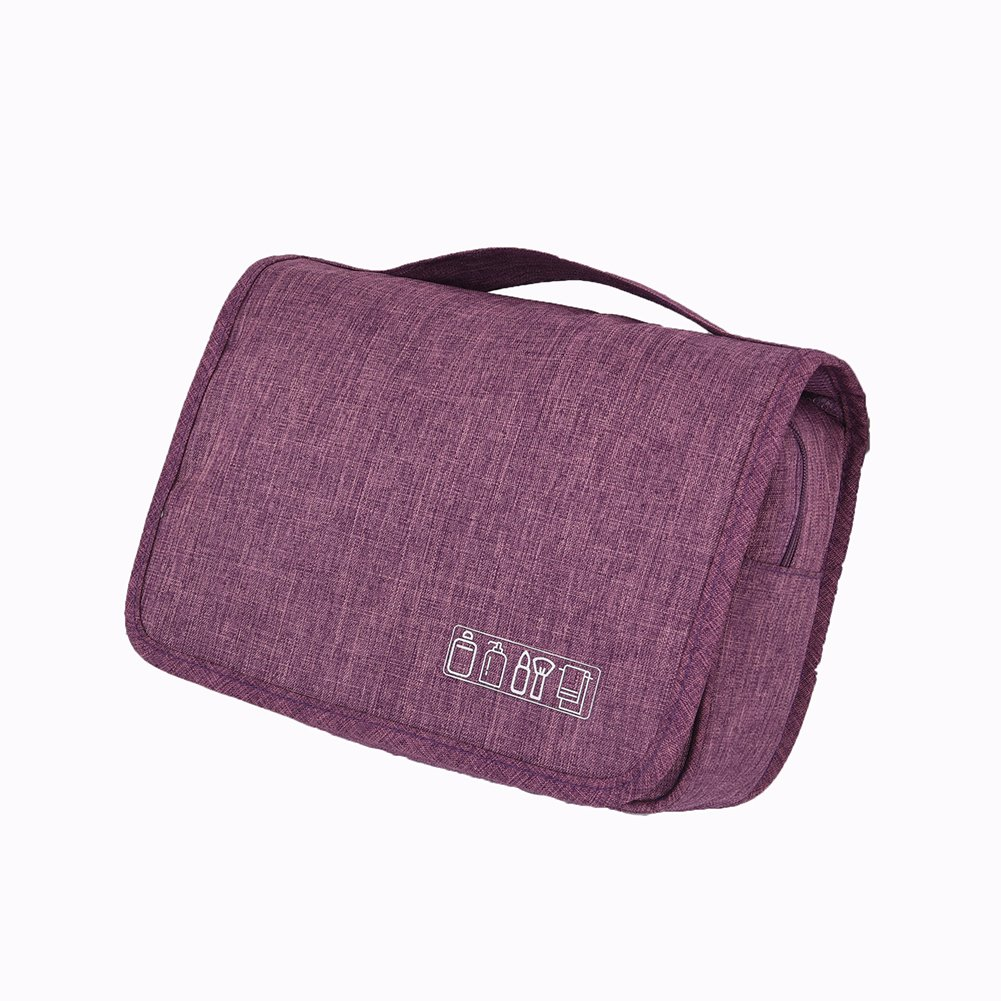 Toiletry Bag Hanging Travel Cosmetic Bag TSA Approved Make up Bag for Women and Men (purple)