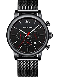 Relojes Hombre Relojes Grandes de Pulsera Deportivos Militares Cronografo Impermeable Analogico Diseñador Reloj de Acero Inoxidable