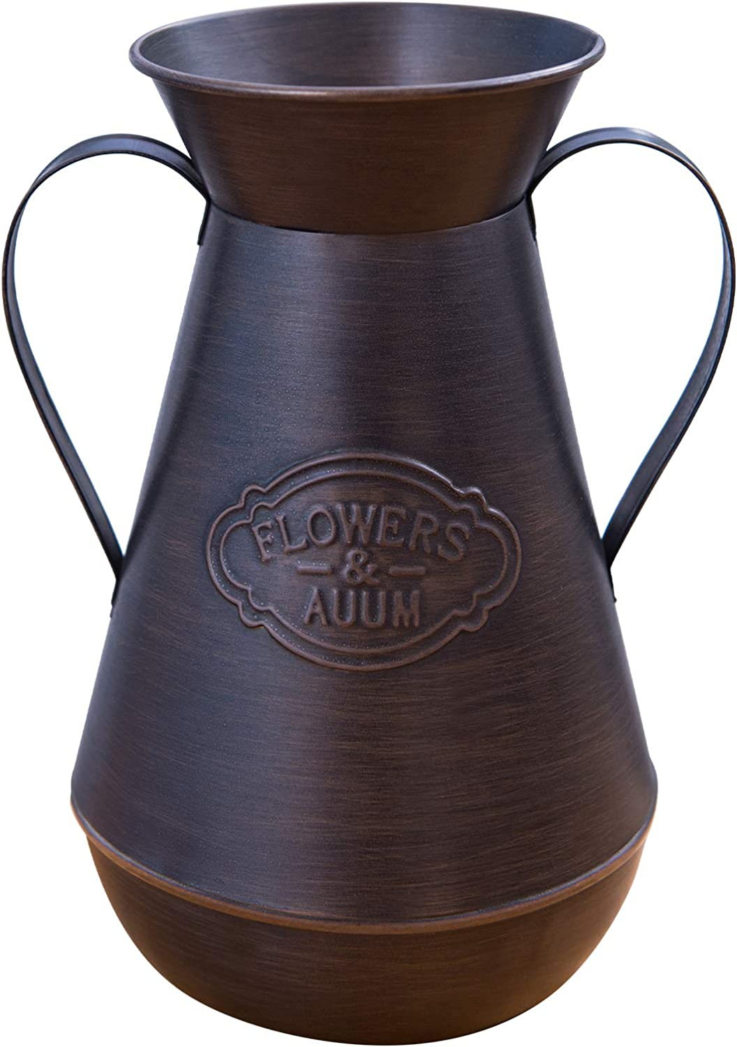 AUUM Shabby Chic Decor Vase, 9.5 Inch Metal Vase for Flowers Vintage Bronze French Rustic Style Galvanized Handmade Milk Can Country Jug for Home Decor