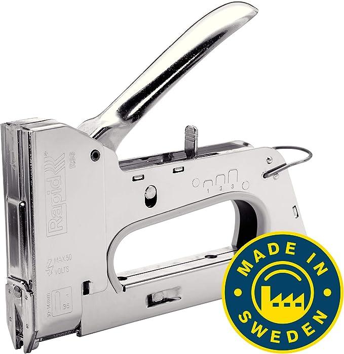 Rapid 20511850 Grapadora manual, Plateado, R36 Heavy-Duty Cable ...