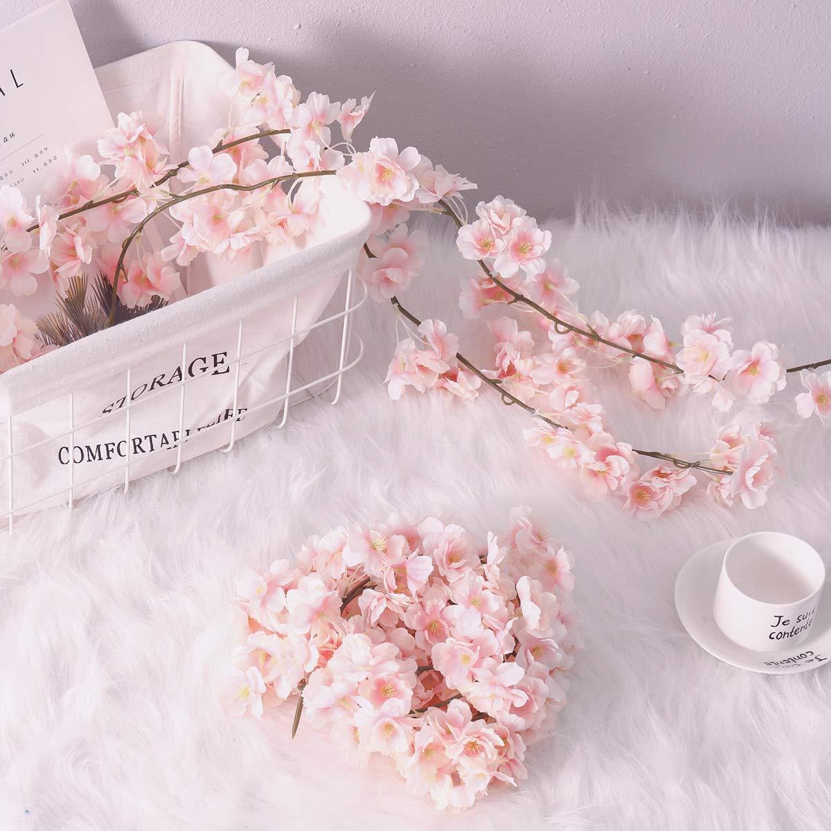 2, Pink PARTY JOY Artificial Cherry Blossom Garland Hanging Vine Silk Garland Wedding Party Decor,