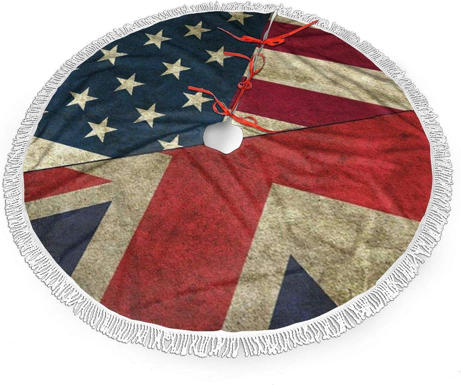 USA UK America British Flag Christmas Tree Skirt Mat Christmas Holiday Party Decoration