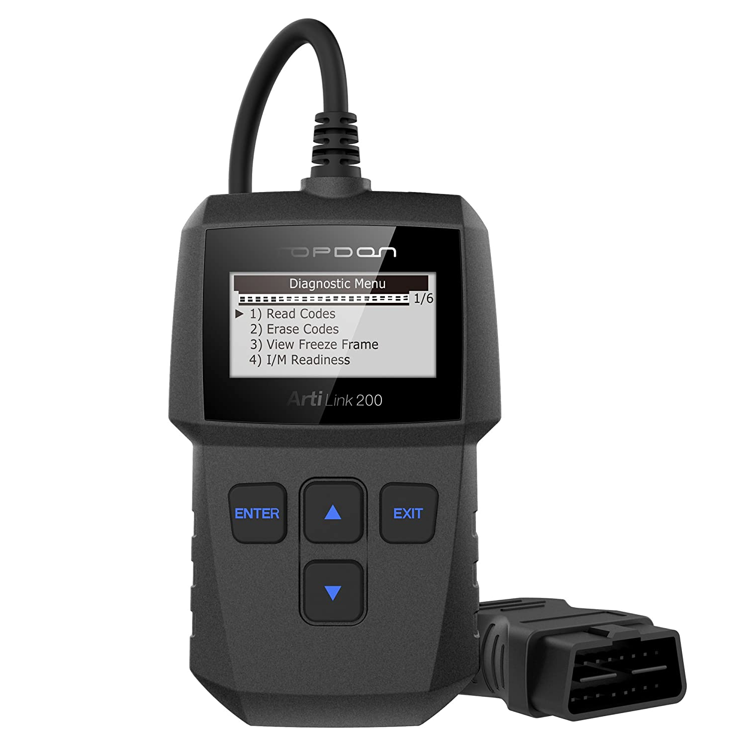 TT TOPDON Al200 Code Reader, Topdon Artilink200 OBD2 Scanner for DTC Reading/Clearing Mil Turn-Off I/M Readiness Checking Freeze Frame and Vin Retrieval
