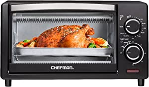 Chefman 4 Slice Countertop Toaster Oven w/ Variable Temperature Control and 30 Minute Timer; Cooking Functions to Bake, Broil, Toast, and Keep Warm - Black