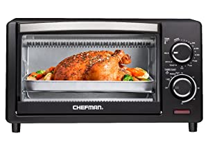 Chefman 4 Slice Countertop Toaster Oven w/ Variable Temperature Control and 30 Minute Timer; Cooking Functions to Bake, Broil, Toast, and Keep Warm -Black