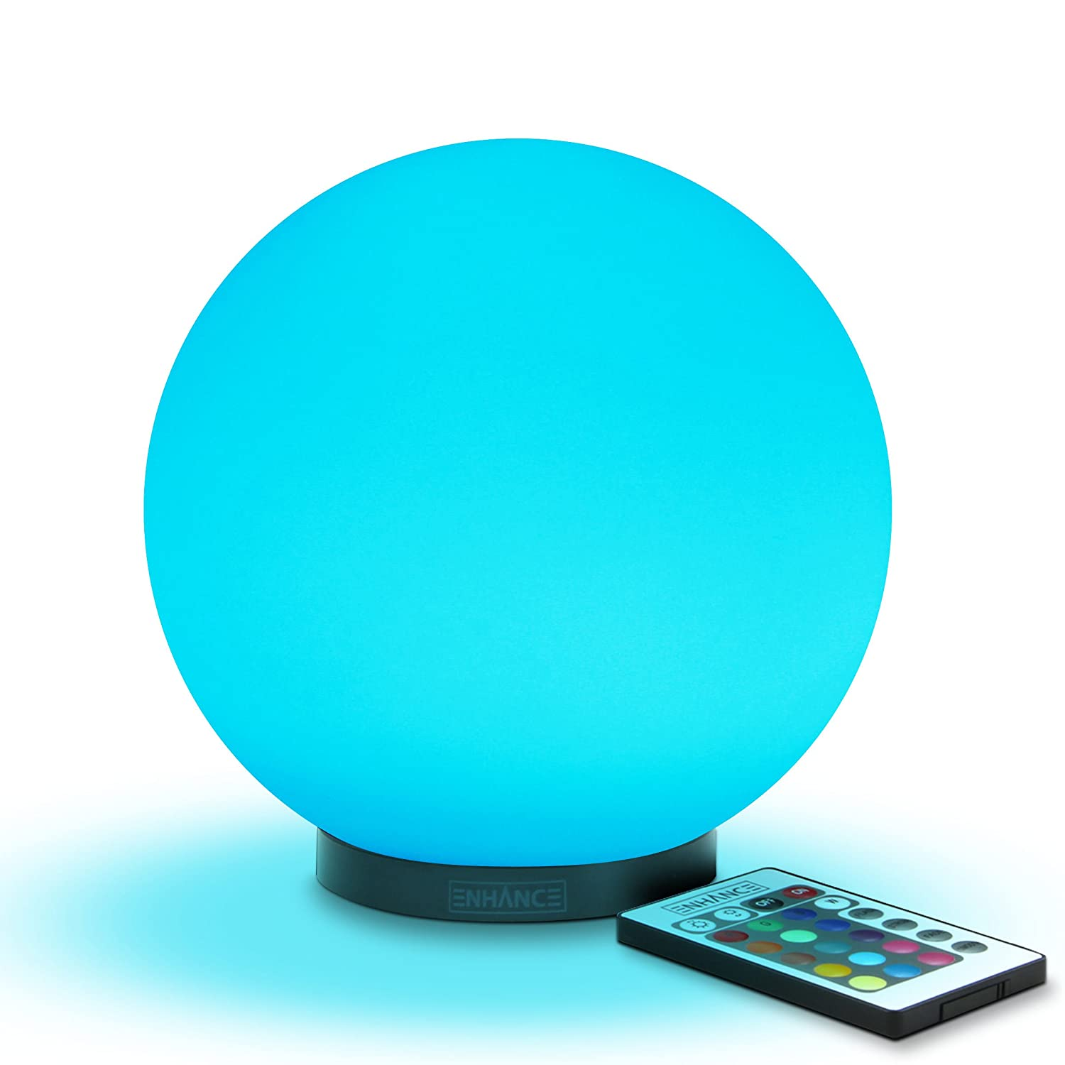 Kid's LED Globe Night Light Ambient Color Changing Glass Mood Lamp 5.9 inch by ENHANCE - Wireless Remote Control, 4 Lighting Modes & Battery or AC Adapter Power - Great for Children & Babies ENMDLM0100BKUS
