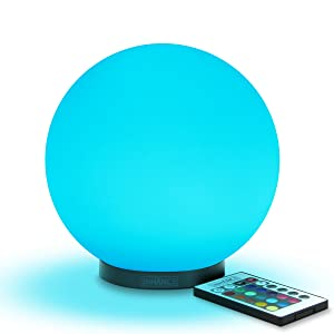 ENHANCE Kid's LED Globe Night Light Ambient Color Changing Glass Mood Lamp 5.9 inch - Wireless Remote Control, 4 Lighting Modes & Battery or AC Adapter Power - Great for Children & Babies