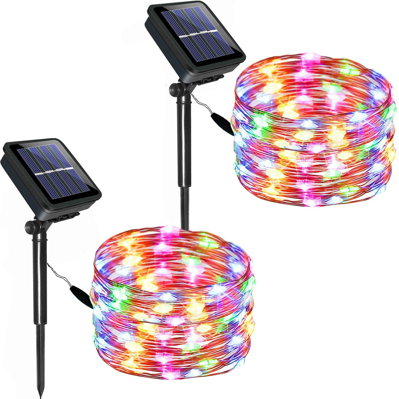 DOLUCKY 2 Pack Solar String Lights,Waterproof 33ft Copper Wire Solar Christmas Lights 100 LED Fairy Lights Outdoor Decoration for Patio Garden Gate Yard Party Wedding Christmas Xmas Tree (Multicolor)