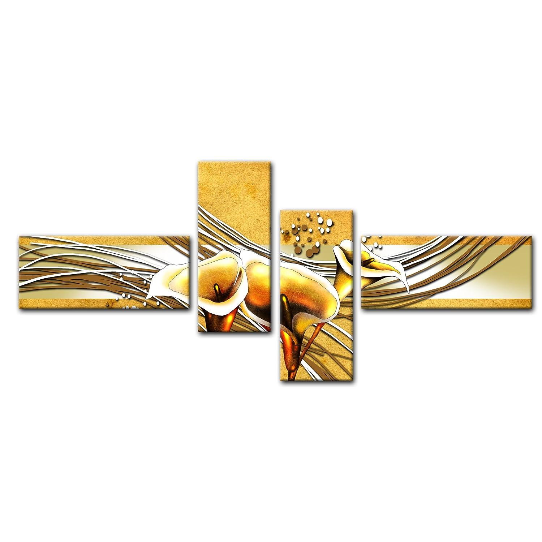Cuadros en Lienzo - Arte abstracto Calla verde - 200x90cm 4 partes ...