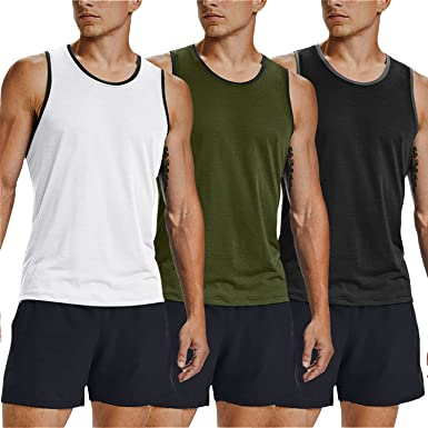 COOFANDY Mens 3 Pack Tank Tops Workout Gym Shirts Muscle Tee Bodybuilding Fitness Sleeveless T Shirts
