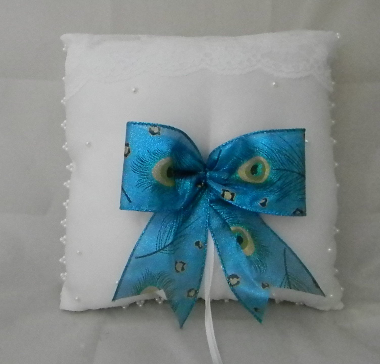Wedding ceremony party Peacock Bow Pearls Satin Ring bearer Pillow