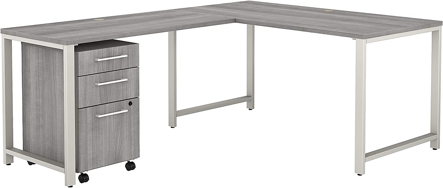 Bush Business Furniture 400 Series L Shaped Desk with 3 Drawer Mobile File Cabinet, 60W, Platinum Gray