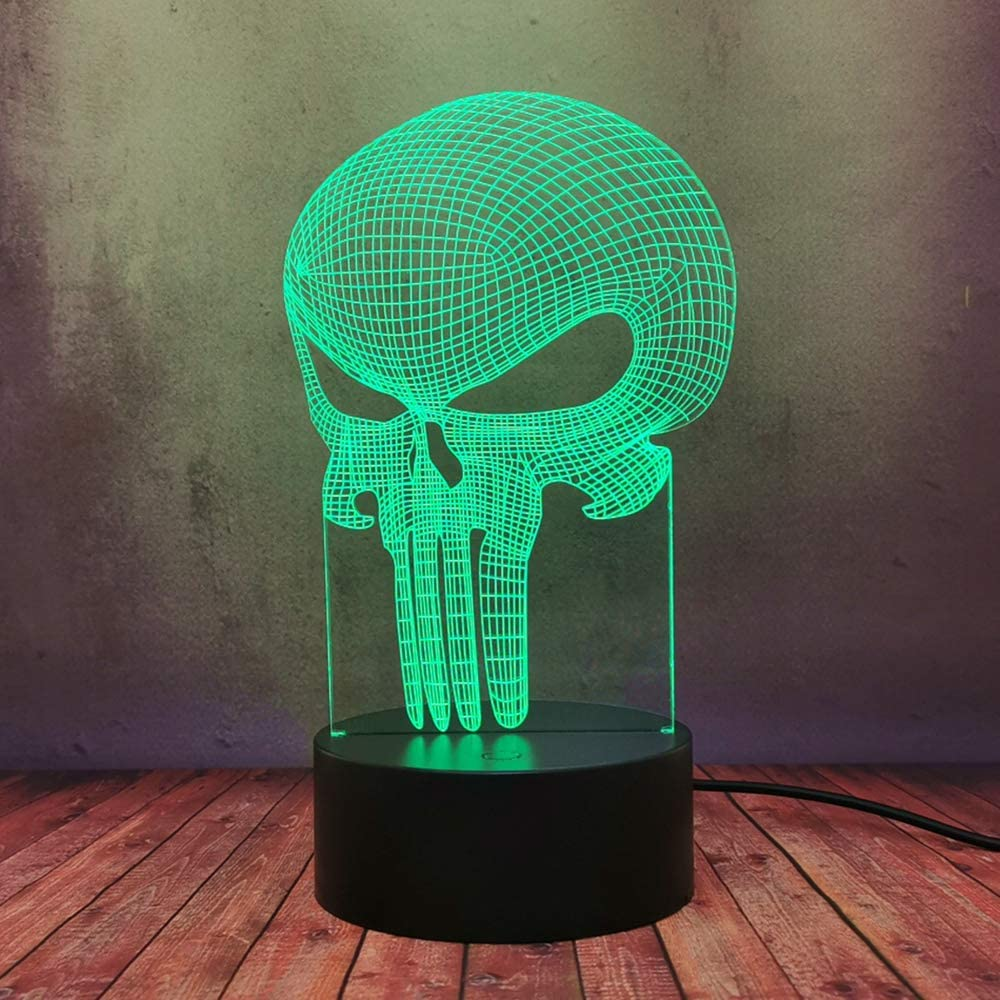 3D Figure Long Mouth Skull LED Table Lamp Night Light DC Marvel The Punisher Movie Home Decor Light Colorful Changing Bulbs Atmosphere Bedroom Desk Lamp Novelty Modern Holiday Toy for Kid