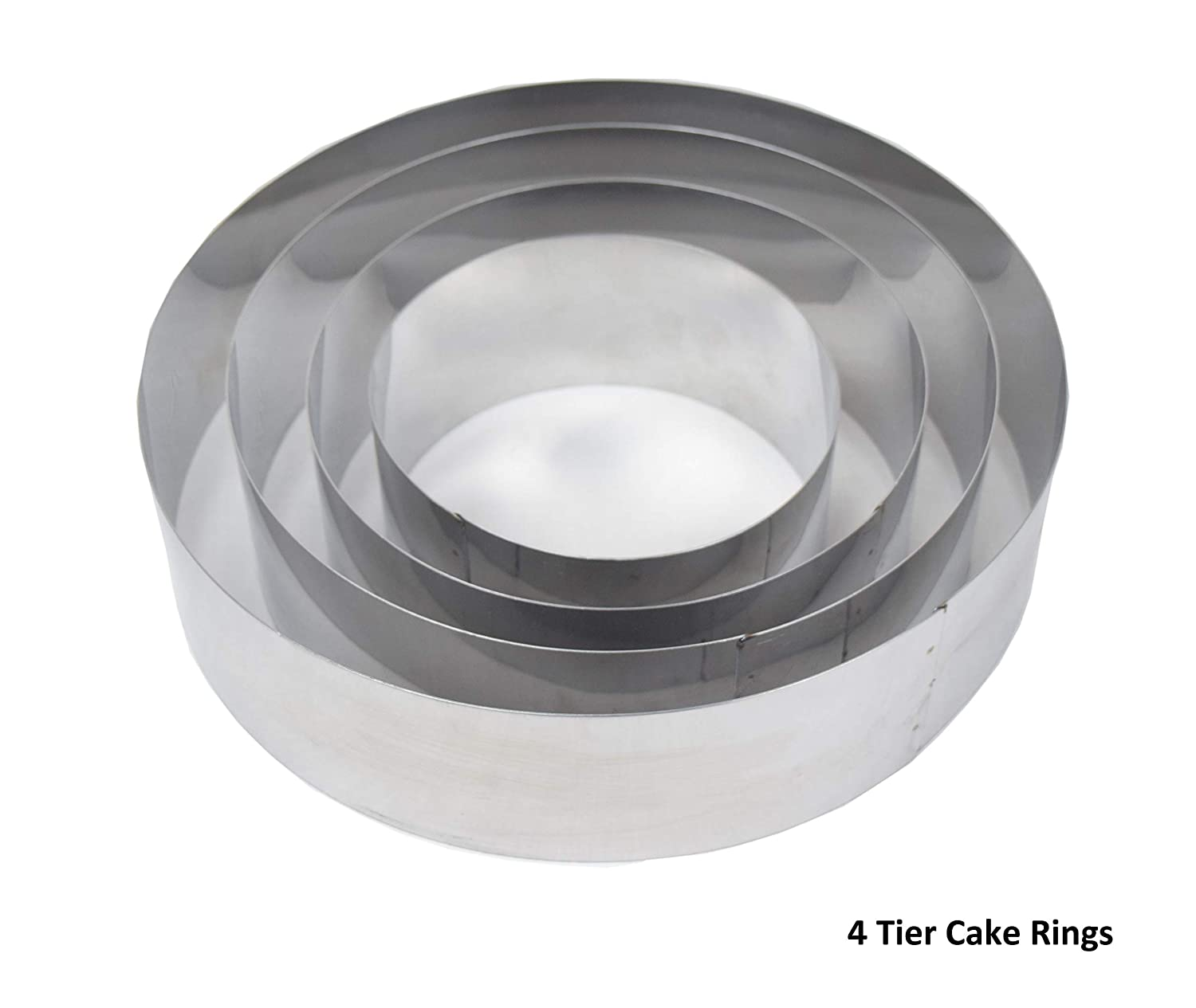 Set of 4 Mousse Cake Baking Rings Cutters Bottomless By Euro Tins