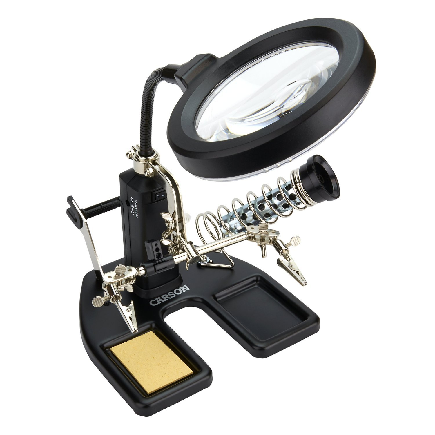 Carson SolderMag LED Lighted 1.75x Soldering Magnifier with 4.5x Spot Lens CP-50UK