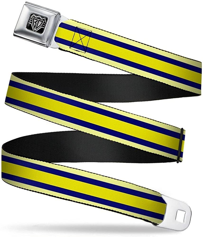 Buckle-Down Seatbelt Belt Stripes Light Yellow//Navy//Yellow 20-36 Inches in Length 1.0 Wide