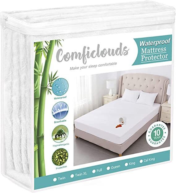SPRINGSPIRIT Twin Mattress Protector Bamboo,Waterproof,Ultra Soft,Breathable and Cooling Bamboo Twin Mattress Pad Cover Fitted up to 14 Depth Pocket