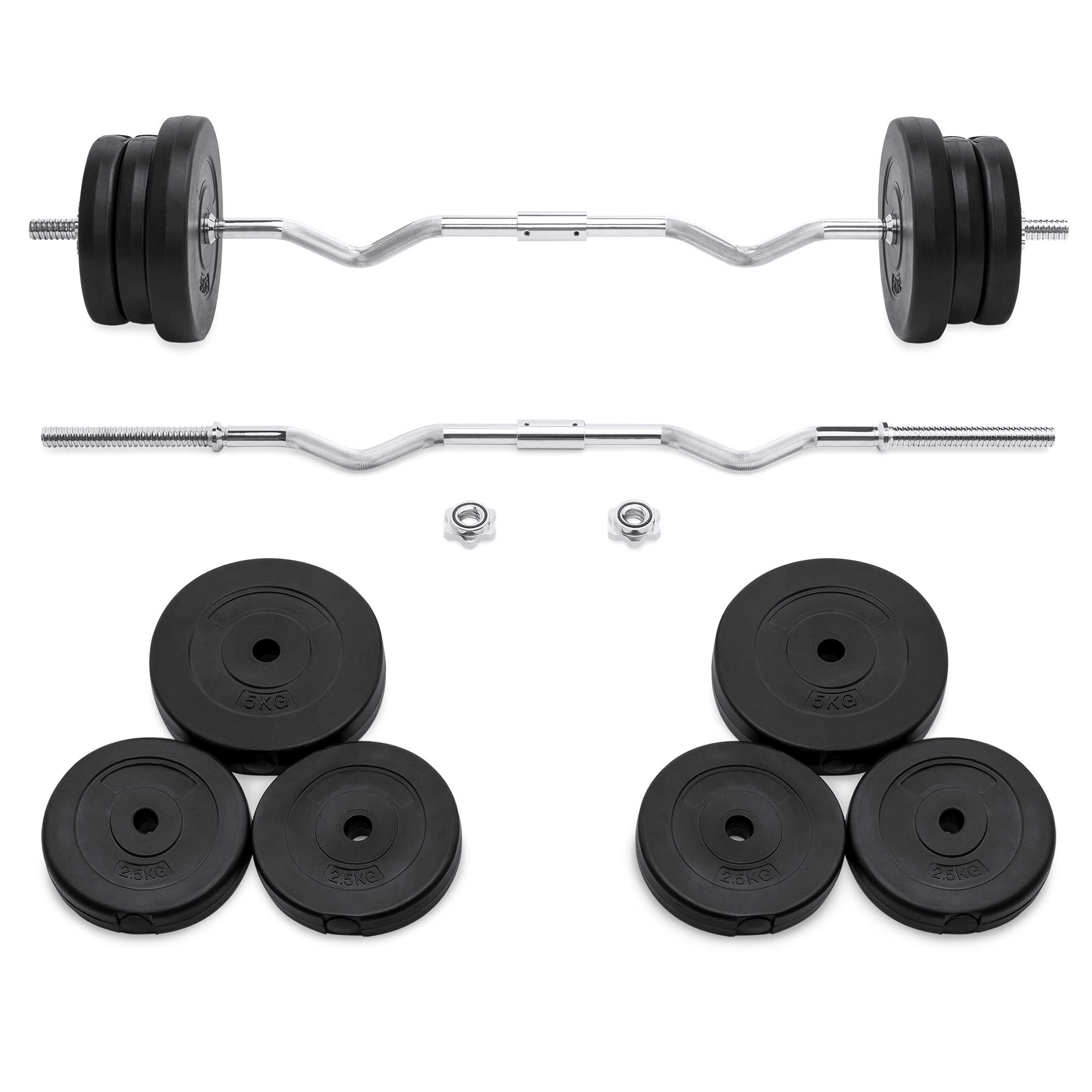 Best Choice Products 55lb 1in EZ Curl Bar Barbell Weight Set w/ 2 Lock Clamp Collars, 6 Plates - Silver/Black