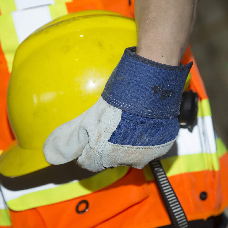 Vgo 3Pares Guantes de Trabajo de Cuero de Vaca Guantes de Construcci/ón con Manguito de seguridad Tama/ño 8//M, Azul, Naranja y Verde, CB3501