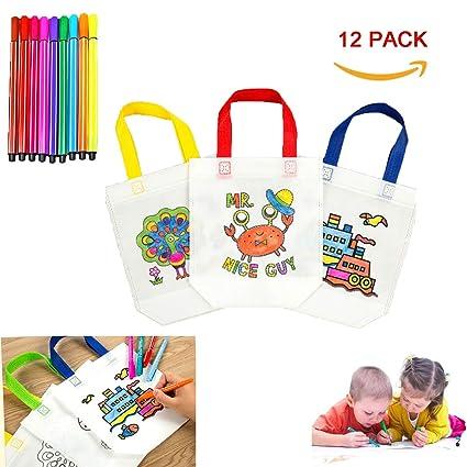 XUNKE DIY Graffiti Bolsas para Colorear, 12 Pcs Graffiti Bags Ideal para Fiestas de cumpleaños, escuelas, guarderías y Celebraciones