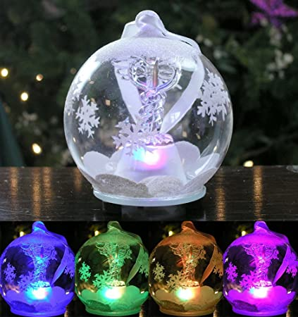 LED Caduceus Glass Globe Christmas Ornament Hand Painted Glittery  Snowflakes and Snow Lighted Color Changing Nurses - Amazon.com: LED Caduceus Glass Globe Christmas Ornament Hand Painted