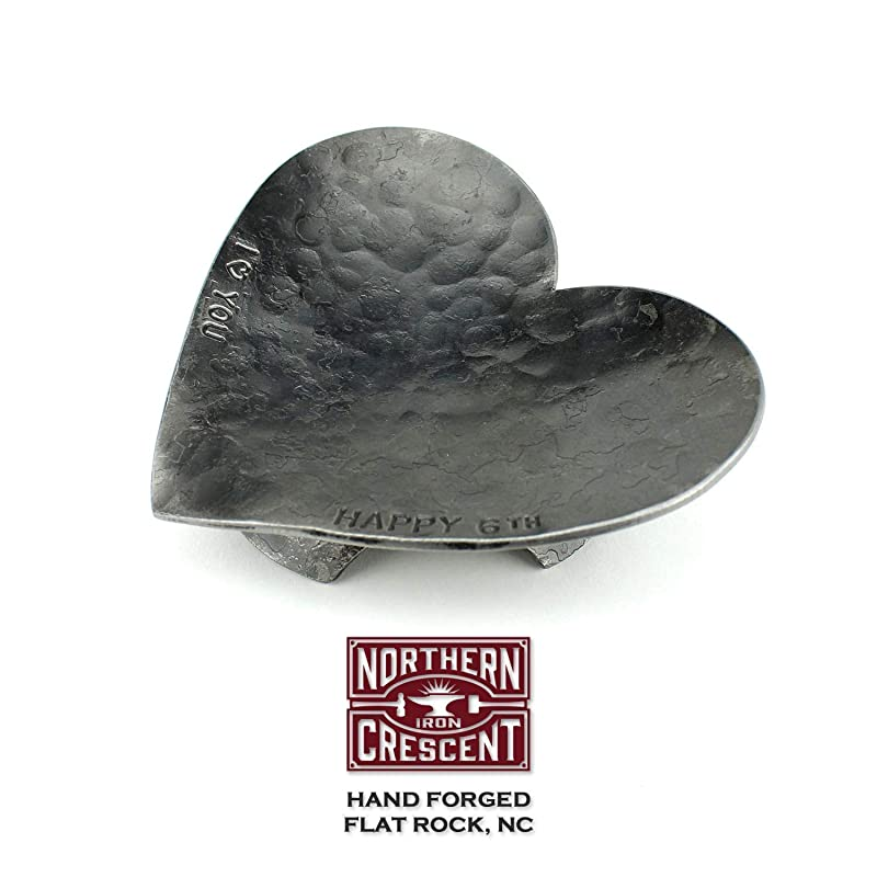 Hand Forged Heart Ring Dish, Anniversary Gift For Her