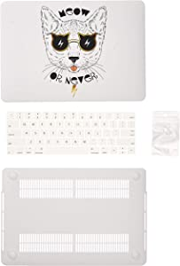DWON MacBook Pro 13 Case 2017 and 2016 with Keyboard Cover and Dust Plug for Apple MacBook Pro 13 Inch Sleeve Model (A1706 / A1708 with/Without Touch Bar) - White Cat