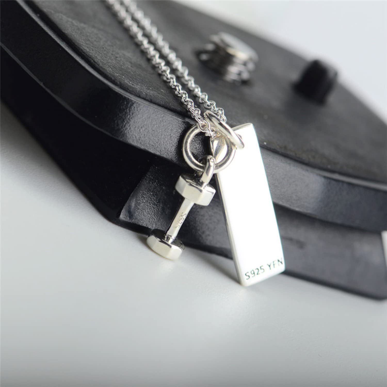 CS-DB Fitness Tag and Dumbbell Two Tone Top Stylish Silver Necklaces Pendants