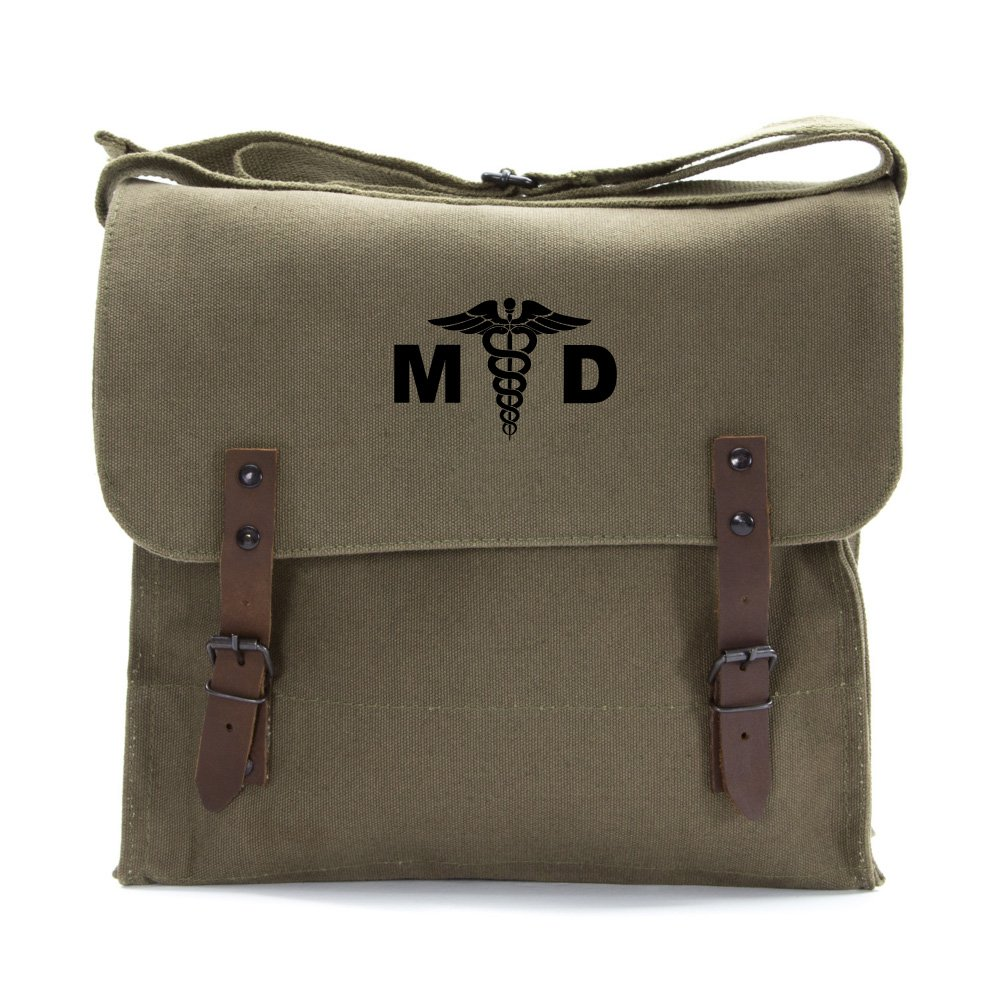 MD Medical Doctor Army Heavyweight Canvas Medic Shoulder Bag in Olive /& White