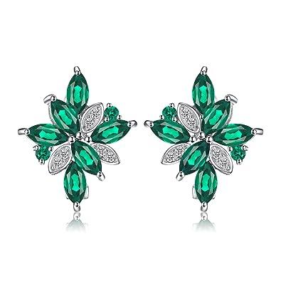 ea828e39867c JewelryPalace Pendientes de Aro 2.5ct Nano Rusa Imitado Esmeralda en Forma  de Flores plata de ley 925  Amazon.es  Joyería