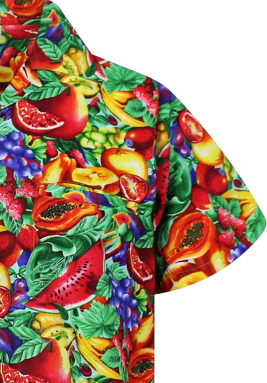 Tutti Frutti Impresi/ón de Hawaii XS-12XL Funky Camisa Hawaiana Se/ñores Manga Corta Bolsillo Delantero Original King Kameha