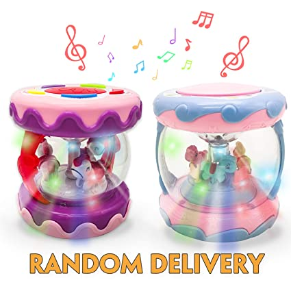 Musical Toys Kids Drum Set with Rotating Projector and Various Pacify Music for Baby 1 2 3 Year Boys Girls, Infant Early Educational Toys (Pink)