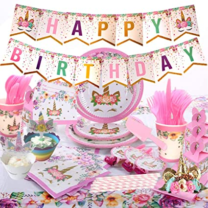Amazon.com: Unicorn Party Supplies Set sirve 16 para ...