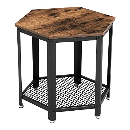 VASAGLE Industrial Side Table, Hexagonal Nightstand with Storage Rack, for Living Room, Bedroom, Wood Look Accent Furniture with Metal Frame ULET26X