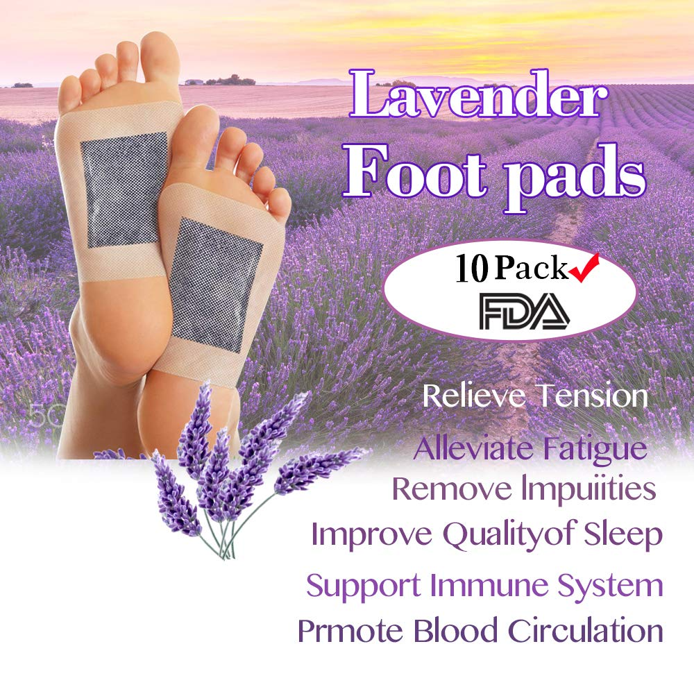 Foot Pads, FDA Certified 2 in 1 Foot Pads, Aromatic Foot Pads/with 4 Different Flavors, Pure Natural Bamboo Vinegar Wood Vinegar, Relieve Fatigue/Pain, Improve Sleep, 10 Pack (Lavender)
