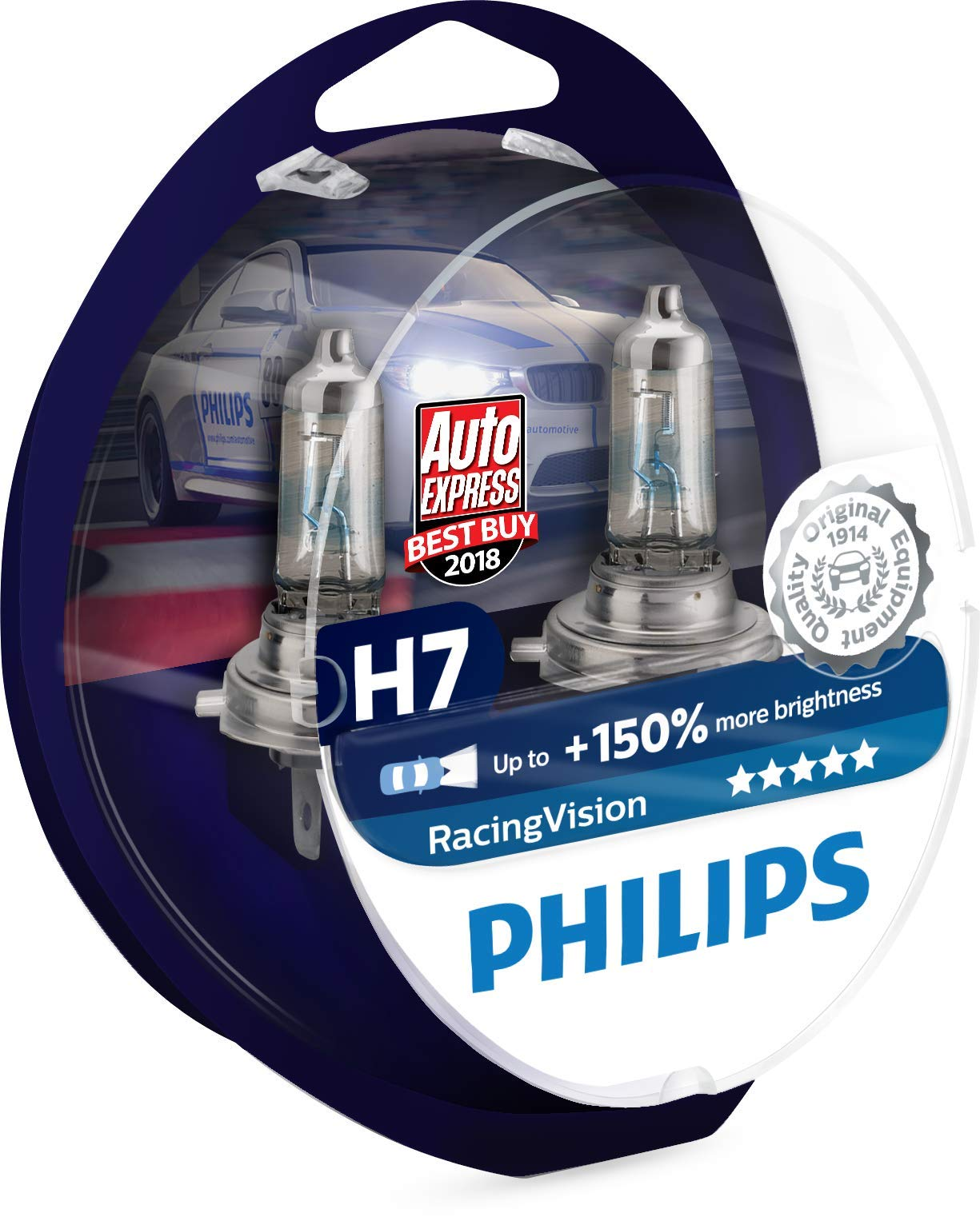 Philips Racing Vision RacingVision +150% H7 Headlight Bulbs (Twin) 12972RVS2
