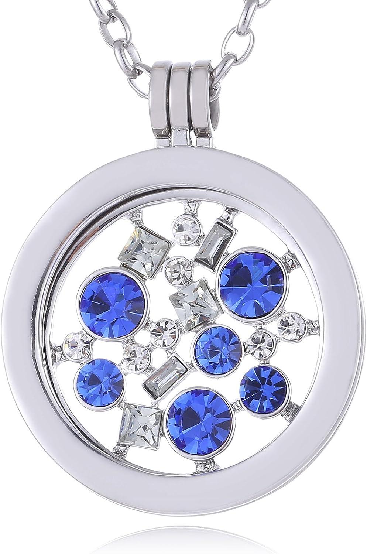 Morella Mujeres Collar 70 cm Acero Inoxidable con Amuleto y Colgante Coin 33 mm en Bolsa de la joyería