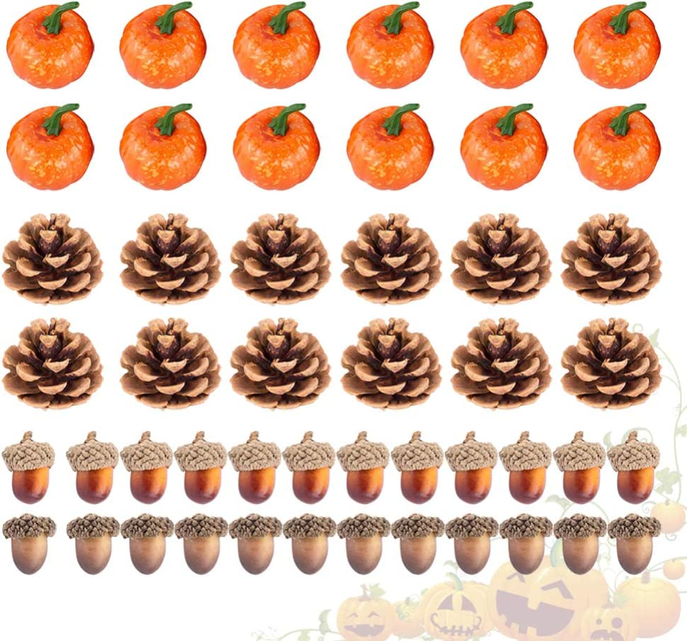 Couleur Assortie Tomaibaby 48 Pcs Halloween Citrouilles Artificielles Mini Citrouilles R/éalistes Faux Pommes De Pin en Mousse Gland pour Table De Thanksgiving Dispersion Vase Remplisseur