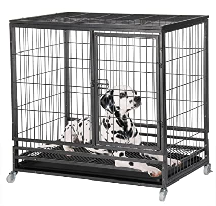 Amazon.com : Yaheetech 37\'\' Heavy Duty Black Dog Crate Cage Kennel ...